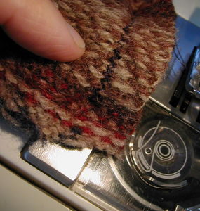 Sewing the hat pieces together with a zigzag stitch