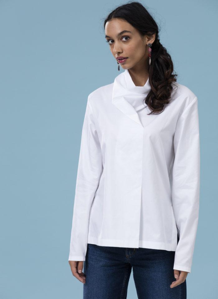 white cowl-neck tunic
