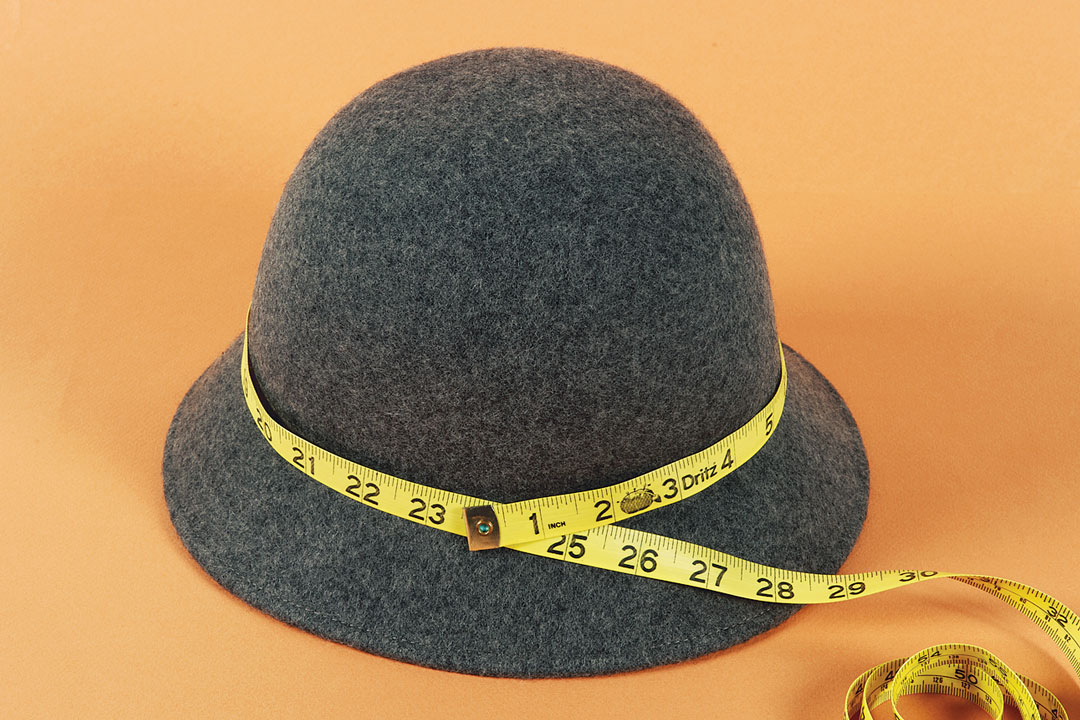 Measure the hat's circumference around the base of its crown