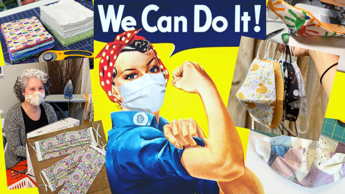 "Collage image of mask sewing and the Rosie the Riveter ""We Can Do It!"" poster"