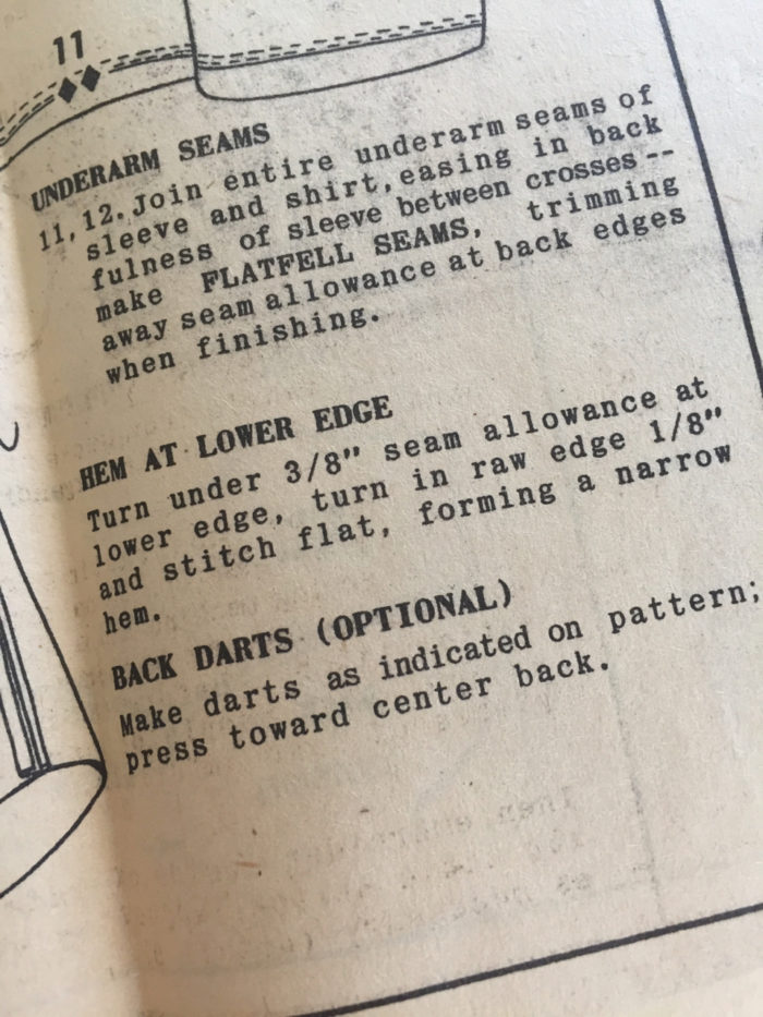 Pattern instructions for finishing a shirt's lower edge