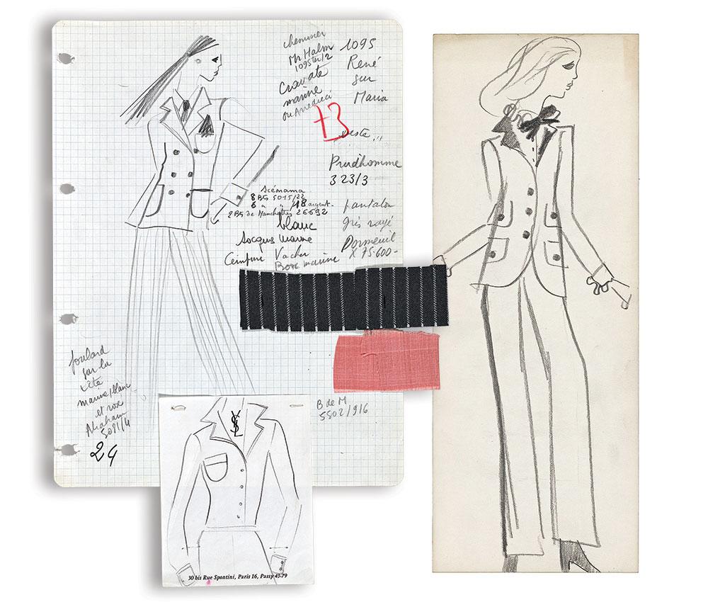 Yves Saint Laurent sketches