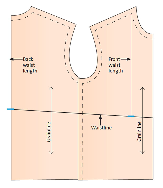 waist pattern with measurement lines