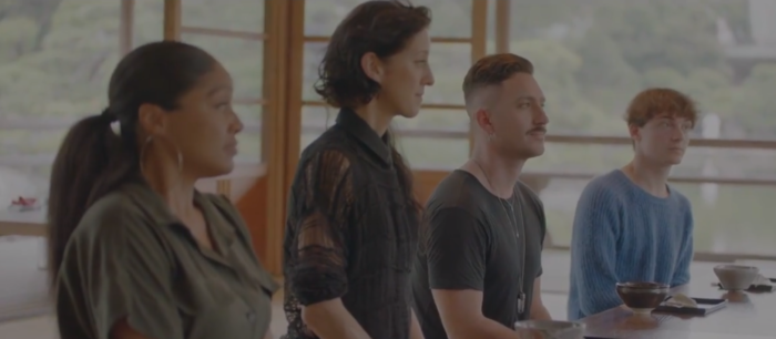 """Four designers competing in Making the Cut, Episode 8: """"Brand Evolution"""""""