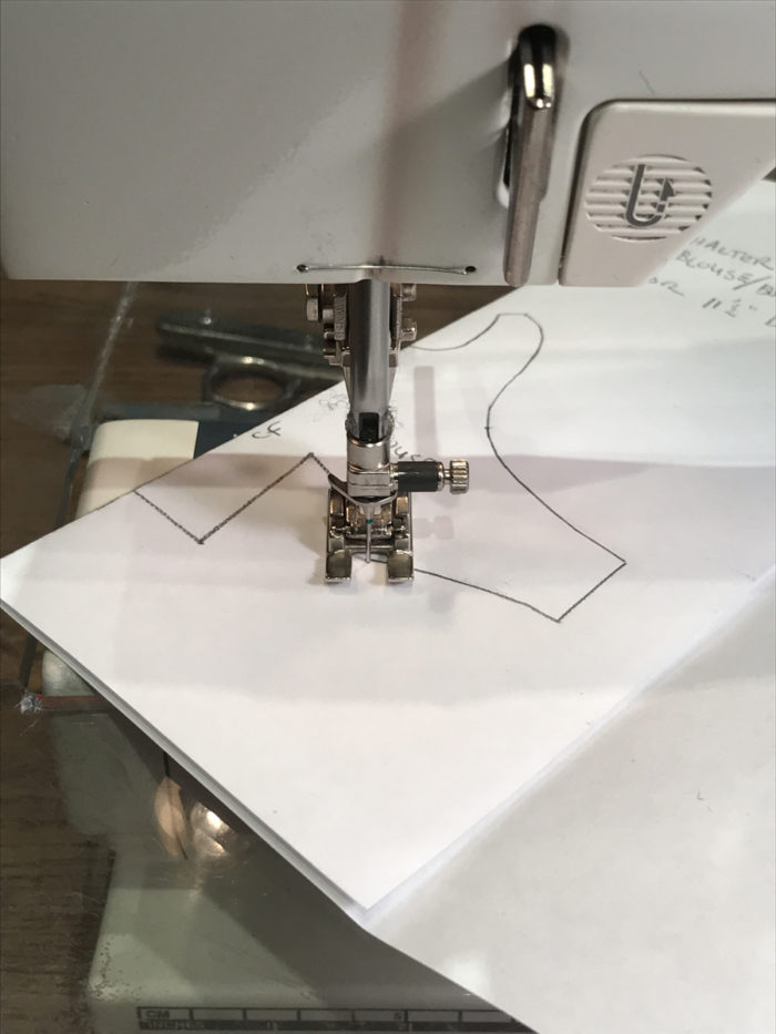 Using a sewing machine to perforate pattern edges of uncut pattern