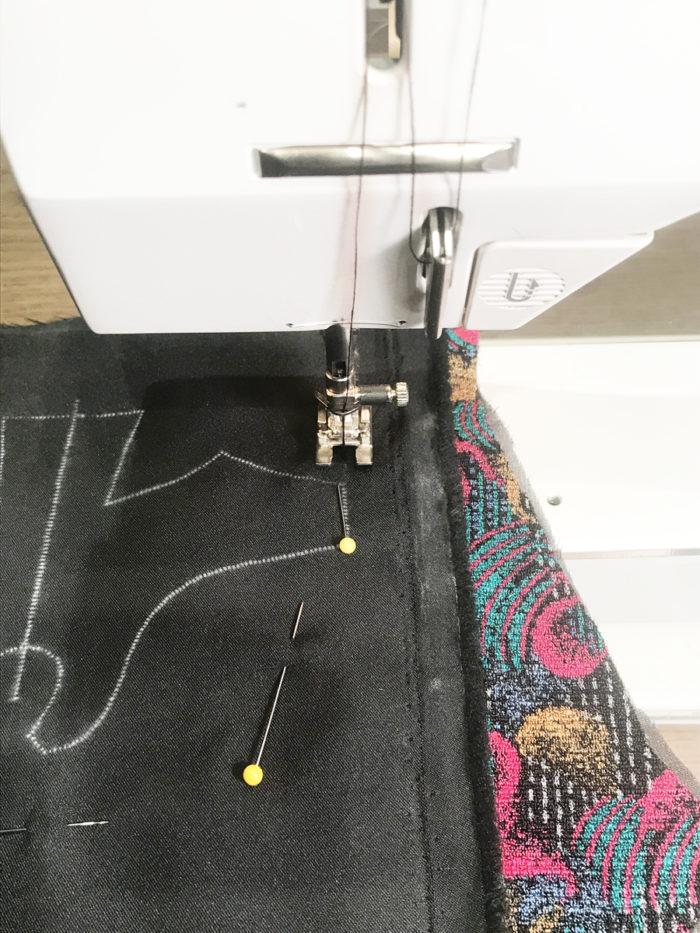 Pin and stitch lining and fashion fabrics together then start machine stitching