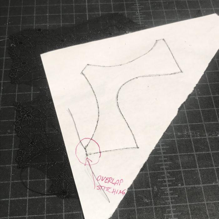 Sew along the panty pattern stitching line