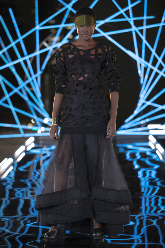 """An Esther Perbandt design on the runway in Making the Cut's """"The Next Global Brand"""" episode"""