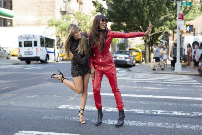"""Making the Cut Judges Heidi Klum and Naomi Campbell stopping traffic on a New York City street in """"The Next Global Brand"""" episode"""