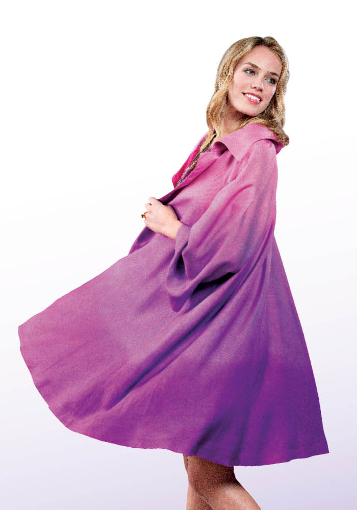 This coat (Vogue 8549) was dyed with Procion fiber reactive Plum Blossom dye and then dip-dyed in Procion Raspberry using the technique described on page 80.