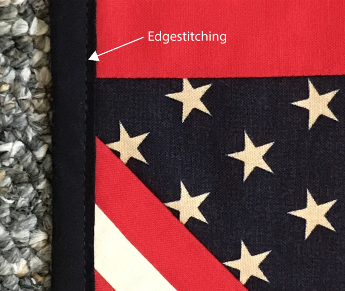 Close-up of edgestitched place mat edge