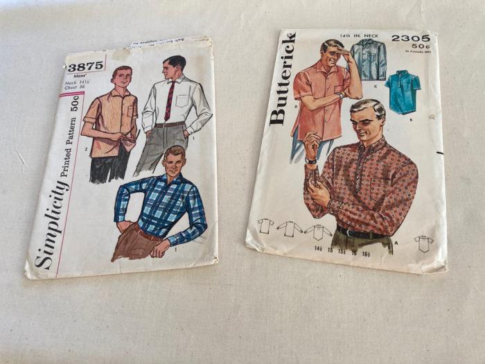 Two 1950s pattern envelopes showing men's Italian collar shirts
