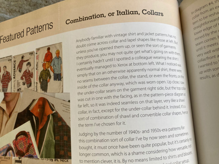 Inside page of The Shirtmaking Workbook about Italian collars