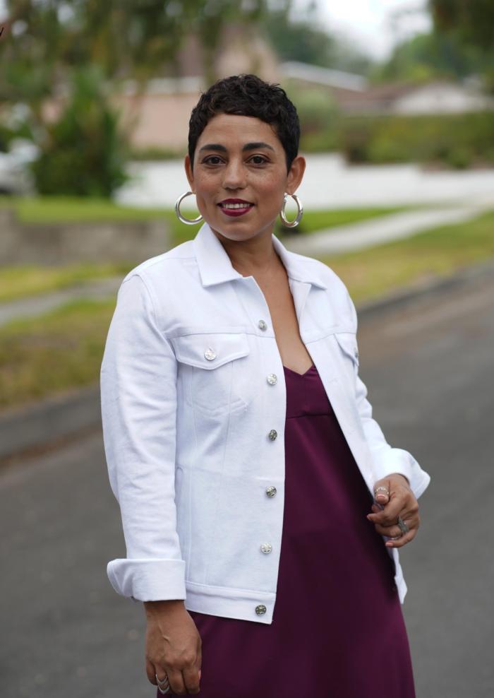 Simplicity 8845 denim jacket also for brocade and jacquard