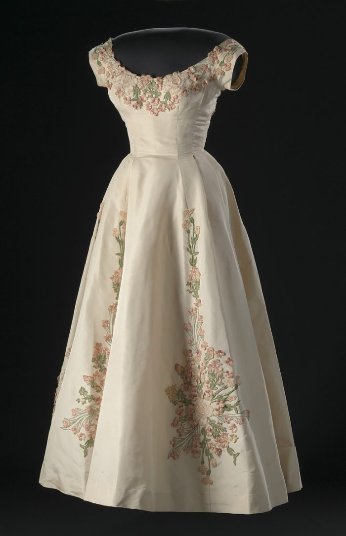Silk faille dress with embroidered floral appliqué designed by Ann Cole Lowe.