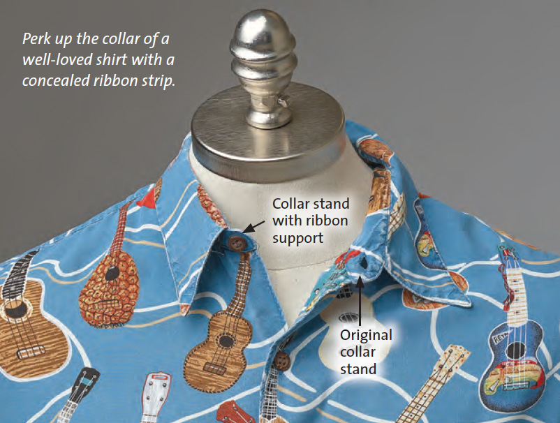 reinforce collar with ribbon