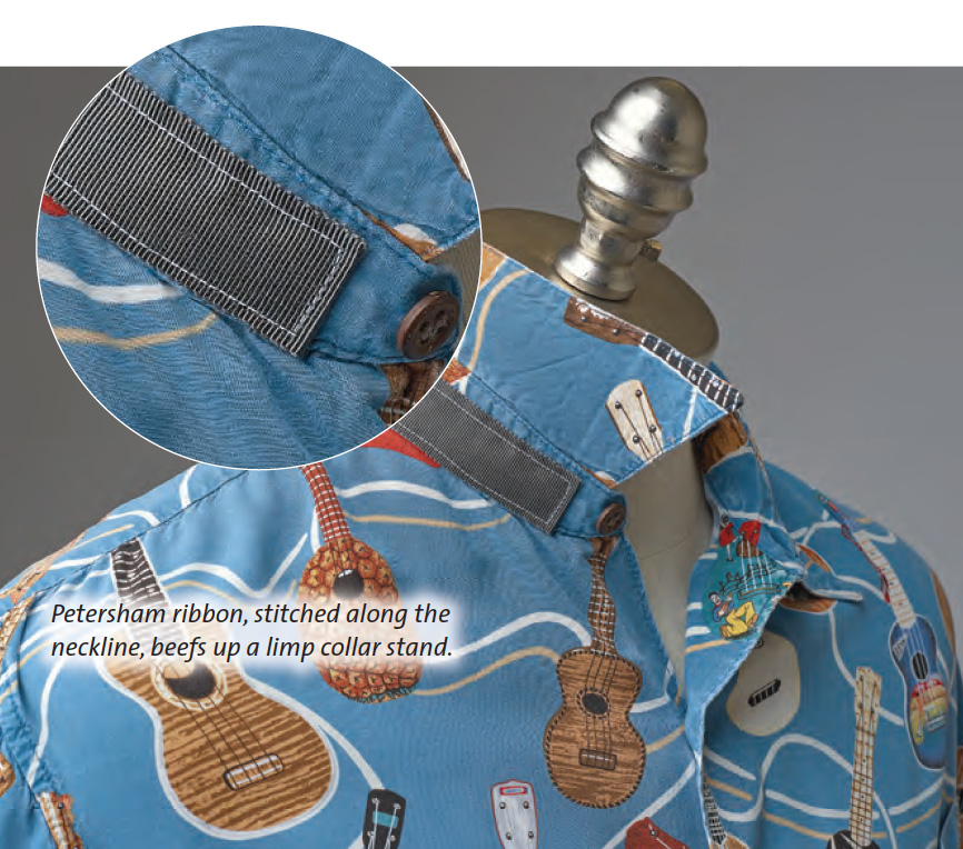 attach ribbon to shirt collar