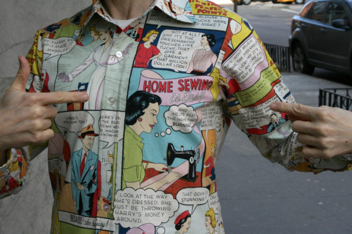 Men's shirt featuring a sewing-themed novelty print
