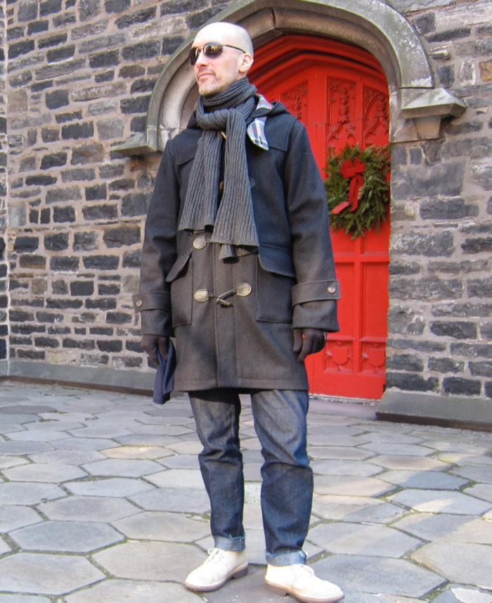 Home-sewn duffel coat from a vintage Vogue pattern