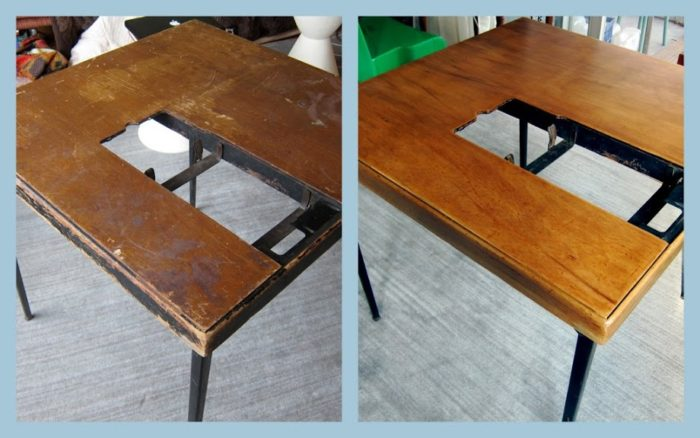 Featherweight sewing machine table before and after restoration