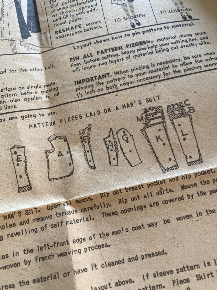 Partial printed pattern instructions from Advance 4229