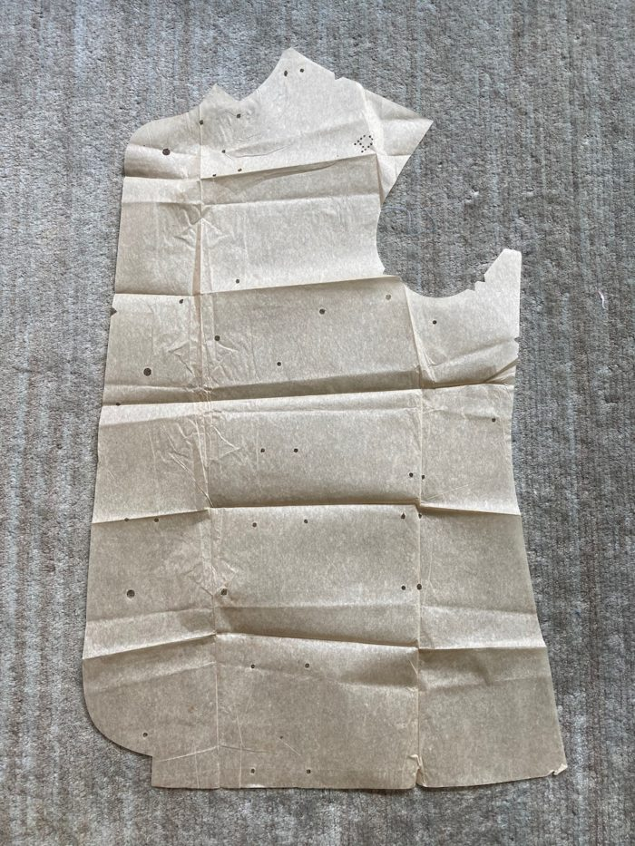 Left front suit jacket pattern piece
