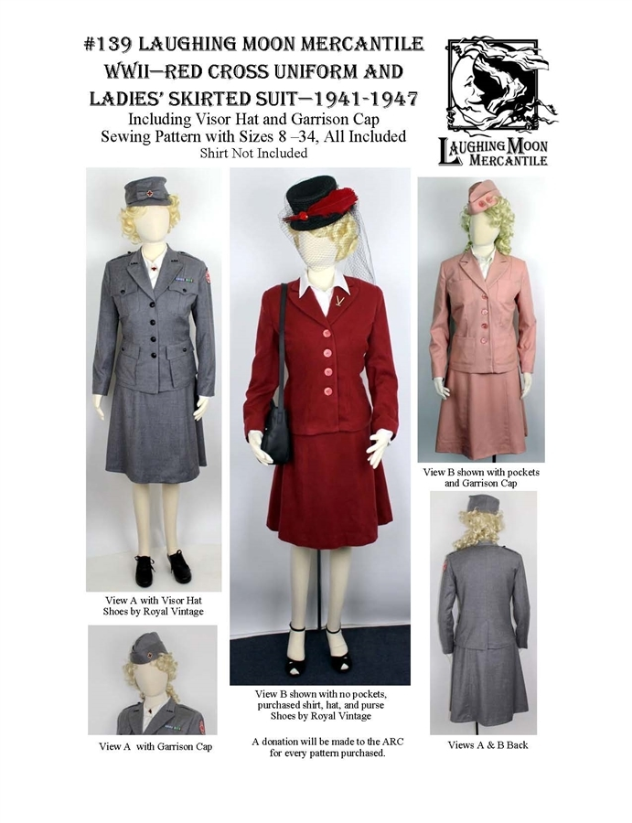 Halloween 2020 idea: Laughing Moon Mercantile #139 Red Cross uniform and skirted suit pattern