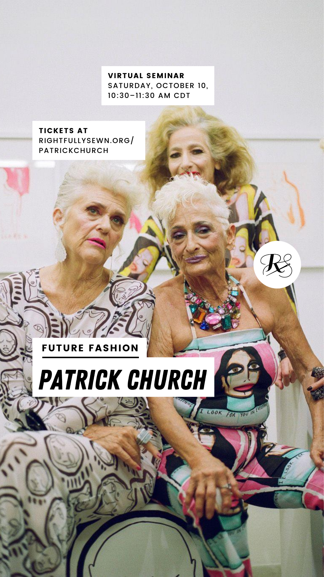 Ad for Future Fashion Patrick Church virtual seminar