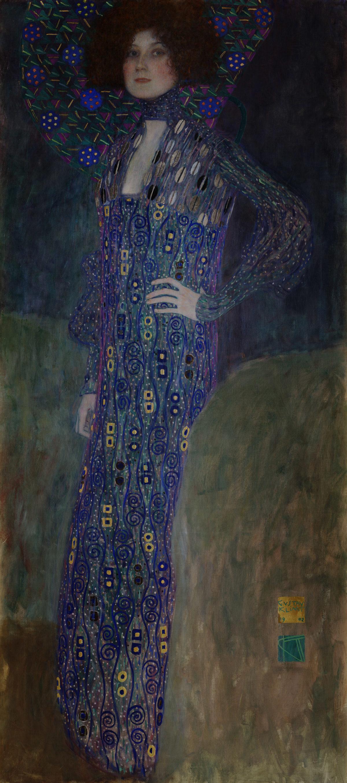 Fashion designer Emilie Flöge in one of her dresses, portrait by Gustav Klimt.