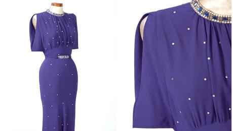Purple dress with banded armscye