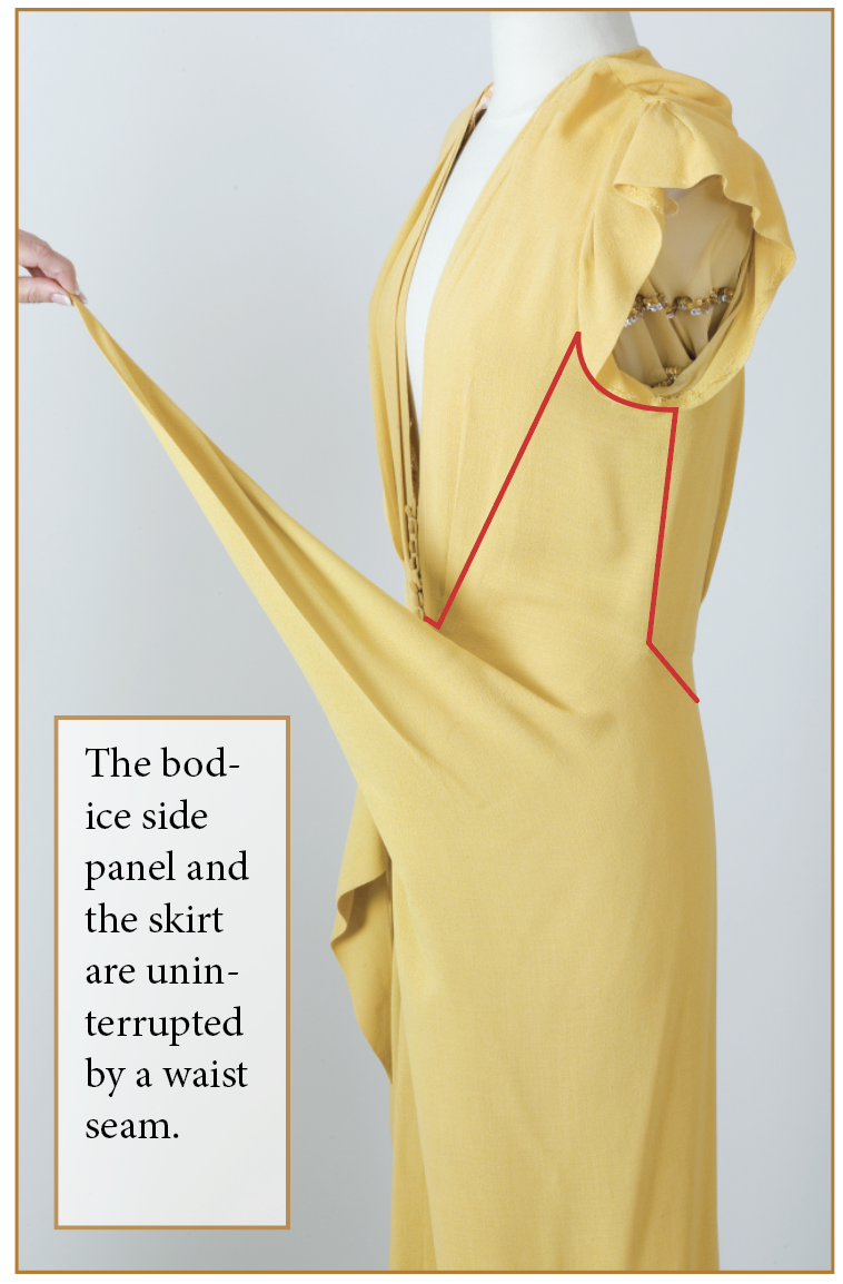 The bodice side panel and the skirt are uninterrupted by a waist seam.