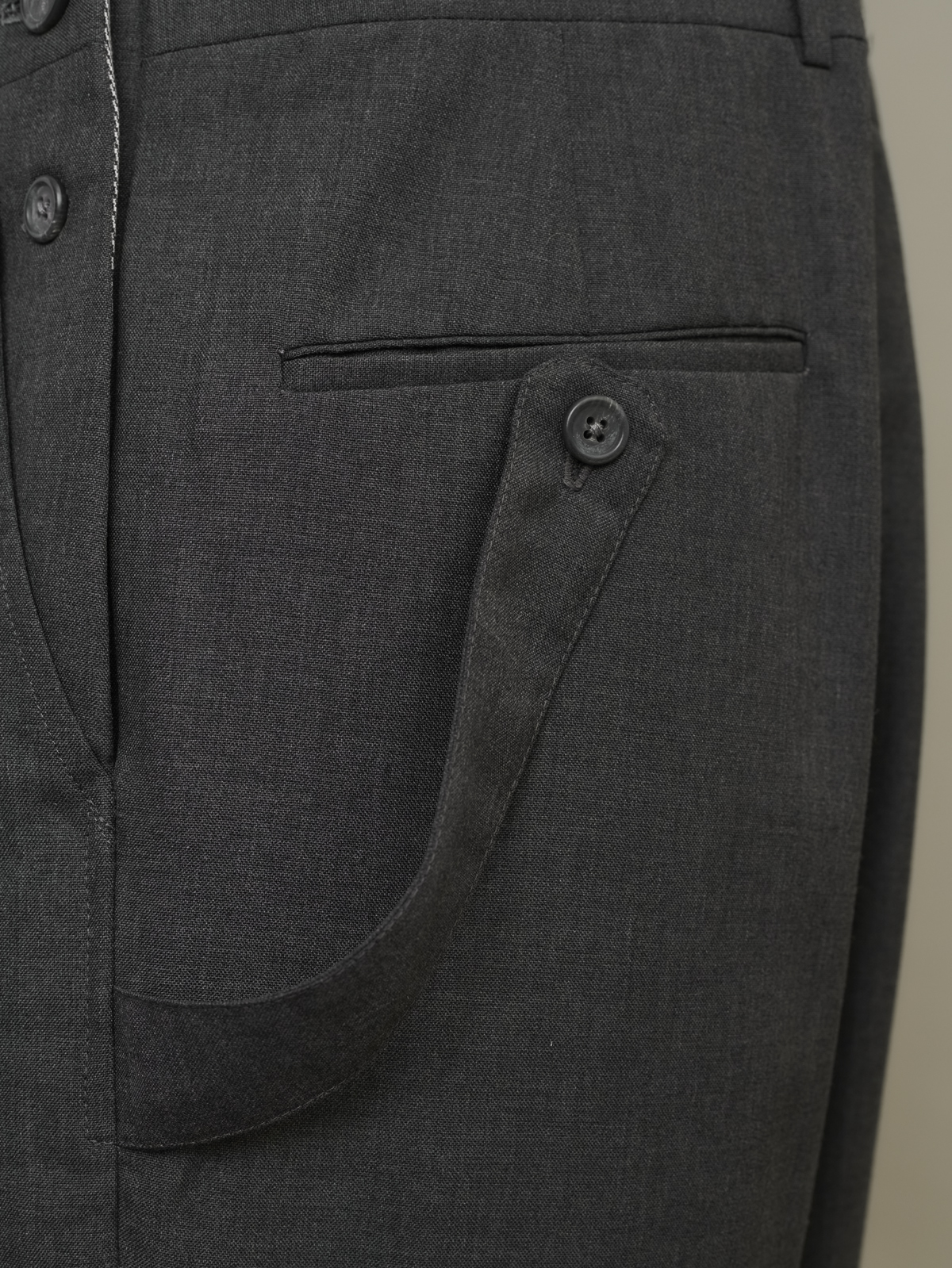 Close-up of hammer loop on business overalls