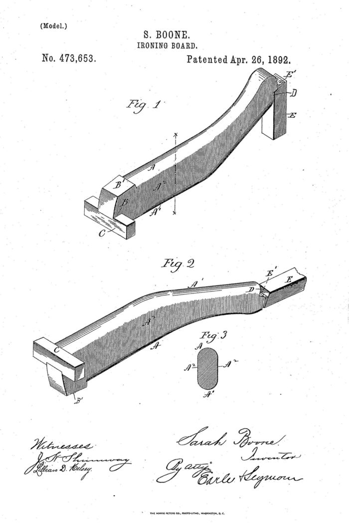Sarah Boone ironing board patent illustration from 1892