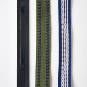 Sturdy elastic with woven or applied rubbery bands keeps garments from slipping
