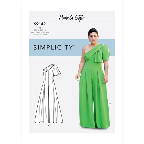 More casual wedding wear: Simplicity 9142, Misses' Jumpsuit With One-Shoulder Drape By Mimi G Style