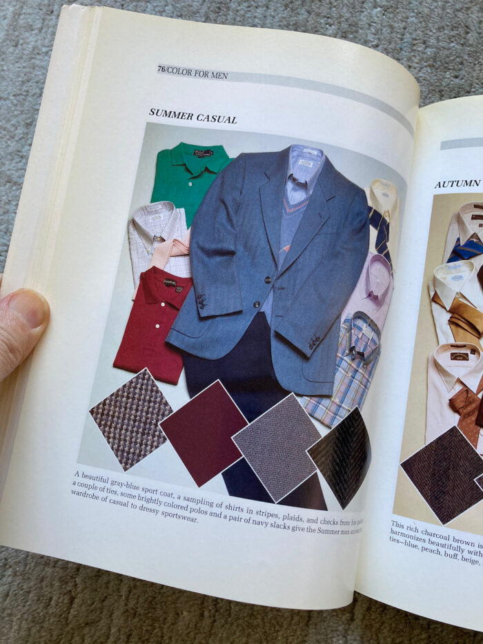 """Photo of suggested clothing for """"Summer"""" in Carole Jackson's book """"Color for Men."""""""