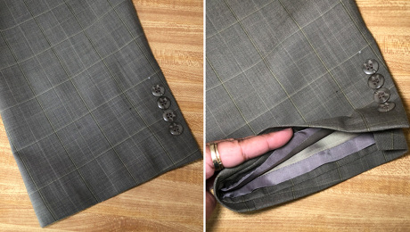 Two images of lengthen jacket sleeves result