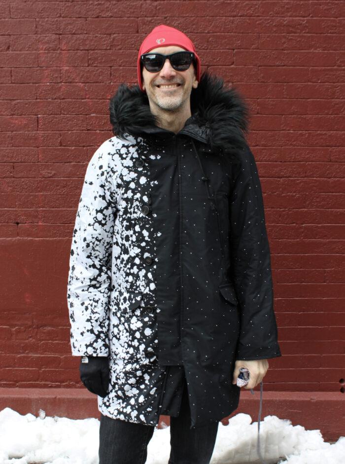 Peter Lappin wearing his panel print parka