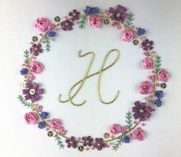 Learn Embroidery Online: Ribbonwork Floral Monogram