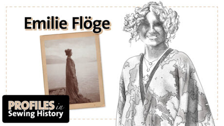 Profiles in Sewing History logo and depictions of Emilie Floge