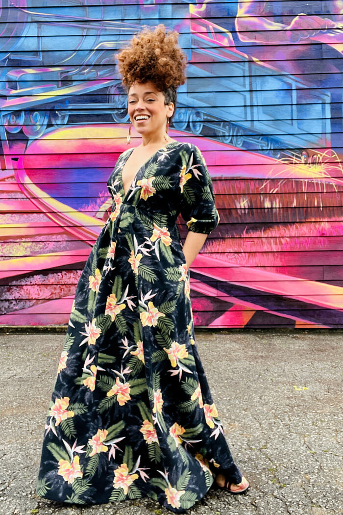 Marcy Harriell wears a tropical print dress she made using a TNT pattern.