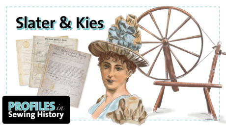 Profiles in Sewing History logo depicting inventions by Hannah Wilkinson Slater and Mary Dixon Kies