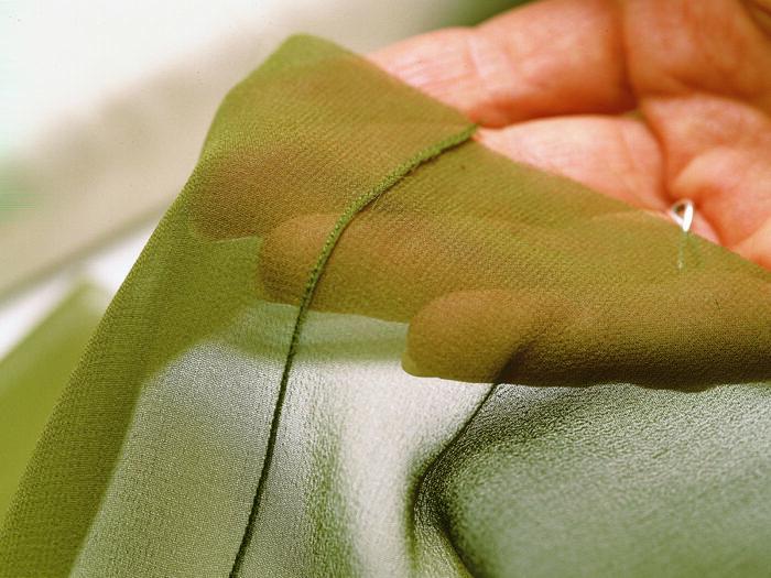 close-up of narrow French seam sewn on silk chiffon