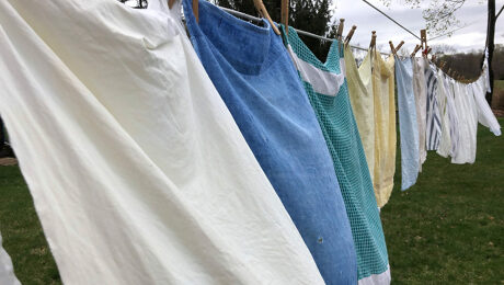 Wash hanging from a clothesline