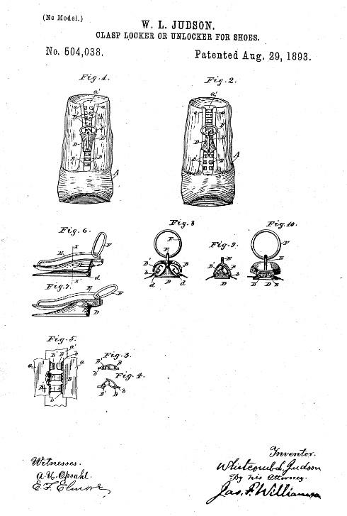 Zipper history: patent Illustration of Whitmont L. Judson's Clasp Locker or Unlocker for Shoes