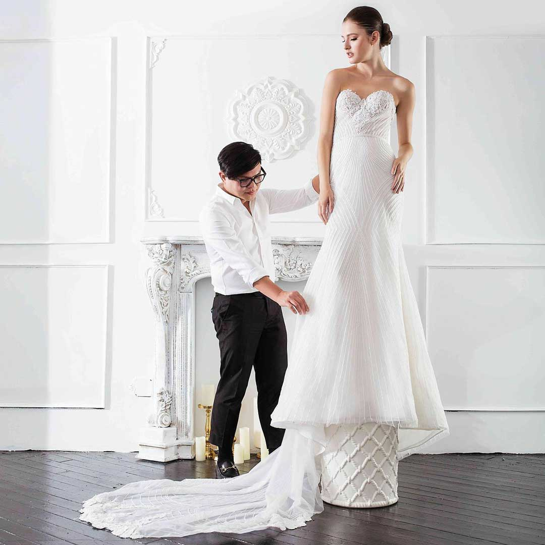 At once classic and contemporary, Jowilson's gowns feature meticulous details and fine fabrics.