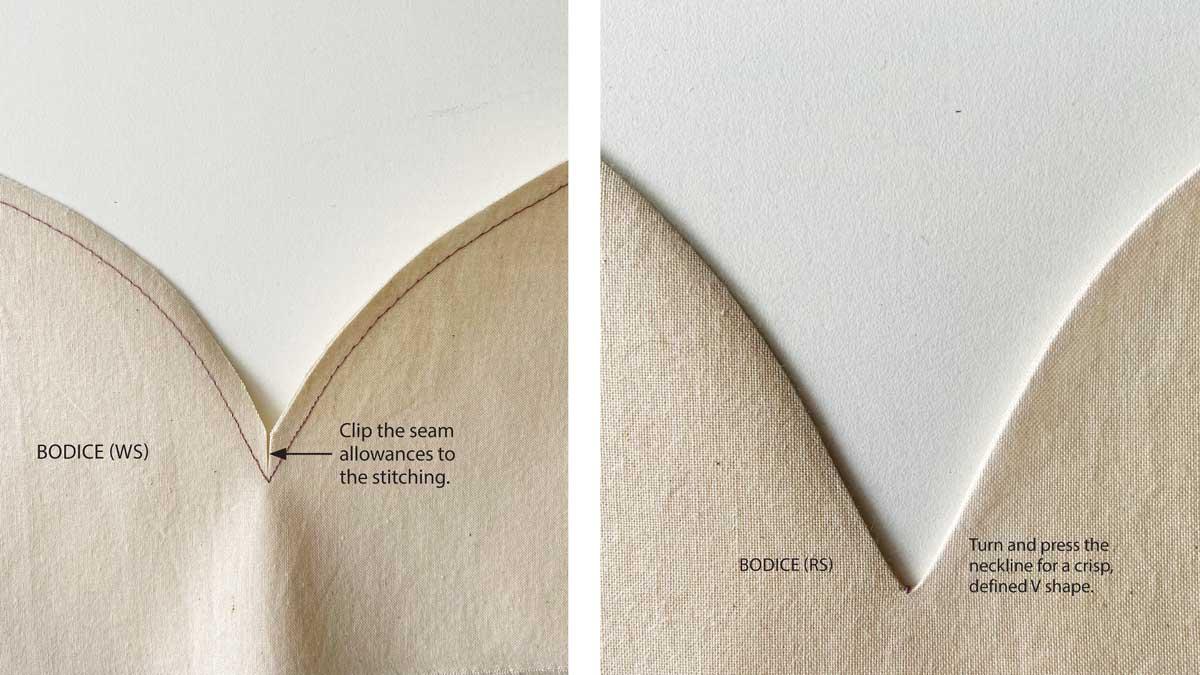 Make a clip at center front through both seam allowances.
