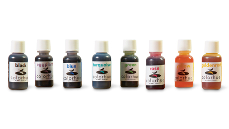 Concentrated instant-set dyes, like the Colorhue line, can be diluted and mixed for custom shades.