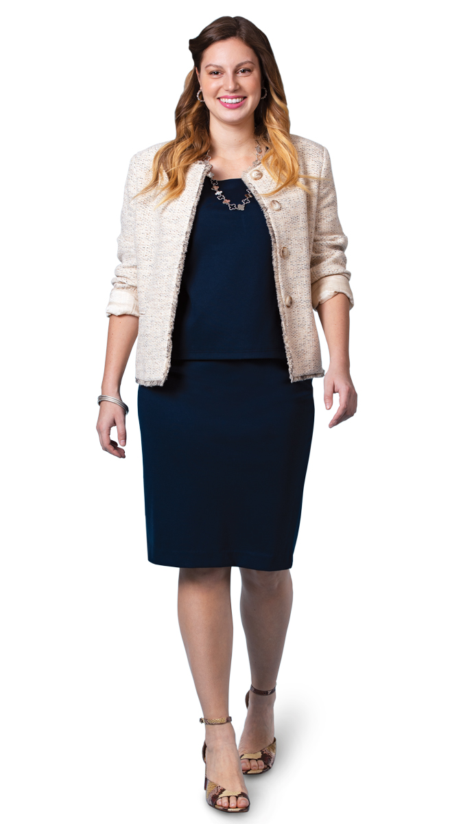The inner column reads as a sleek dress that sets off a statement jacket-necklace combination.
