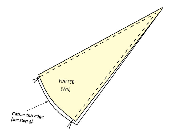 halter diagram for sewing no-waste dress